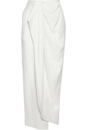 围裹效果羊毛绉纱超长半身裙