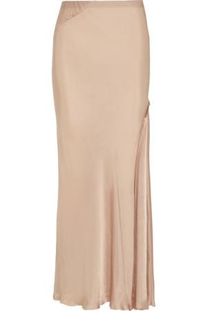 垂褶缎布超长半身裙