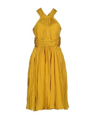 黄色 OSCAR DE LA RENTA 及膝连衣裙