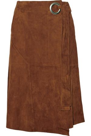 绒面革裹身半身裙