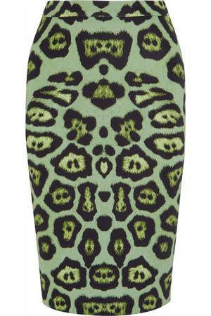 豹纹印花弹力平纹针织半身裙