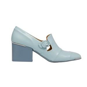 巴黎世家(Balenciaga)2013早春奶油蓝色皮质粗跟乐福鞋