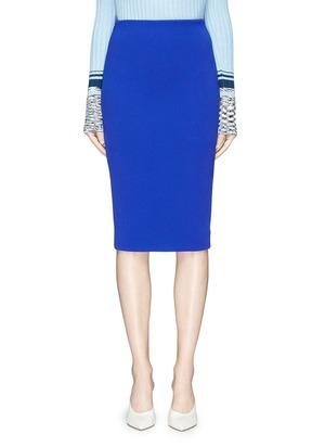 拉链设计绉绸铅笔裙