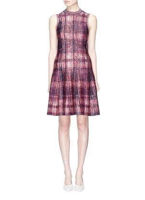 丝混羊毛格纹连衣裙