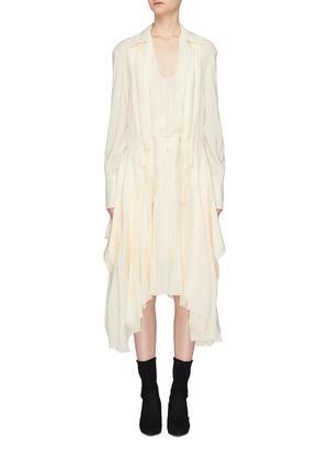 褶裥设计真丝衬衫裙