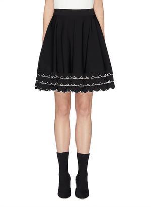 镂空波浪边喇叭针织半裙