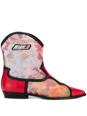 MSGM stamped cowboy boots - Red