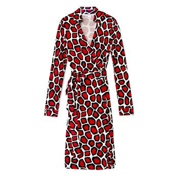 Diane von Furstenberg黑×红几何裹身裙