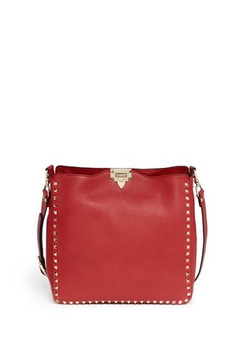 Rockstud leather hobo messenger bag