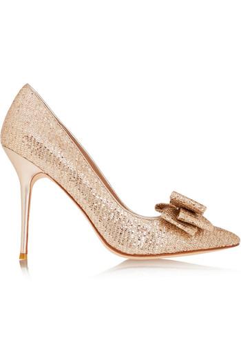 Rose 蝴蝶结缀饰亮片金葱高跟鞋