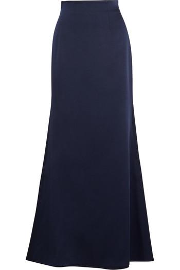 缎面绉纱超长半身裙