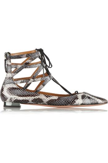 Belgravia 锦蛇皮尖头平底鞋