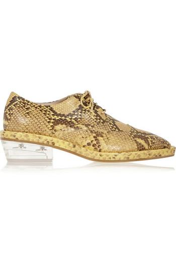 仿蛇纹皮革布洛克鞋