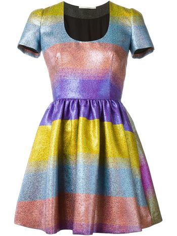 MARCO DE VINCENZO colour block stripe metallic dress