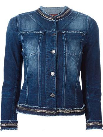 7 FOR ALL MANKIND embellished trim frayed denim jacket
