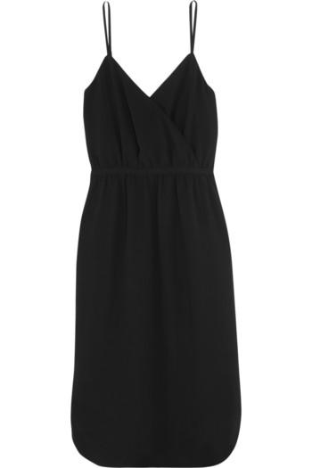 围裹效果绉纱连衣裙