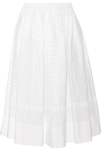 Edeia 马德拉刺绣纯棉中长半身裙