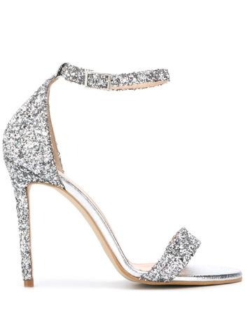 P.A.R.O.S.H. glitter high-heeled sandals - Silver