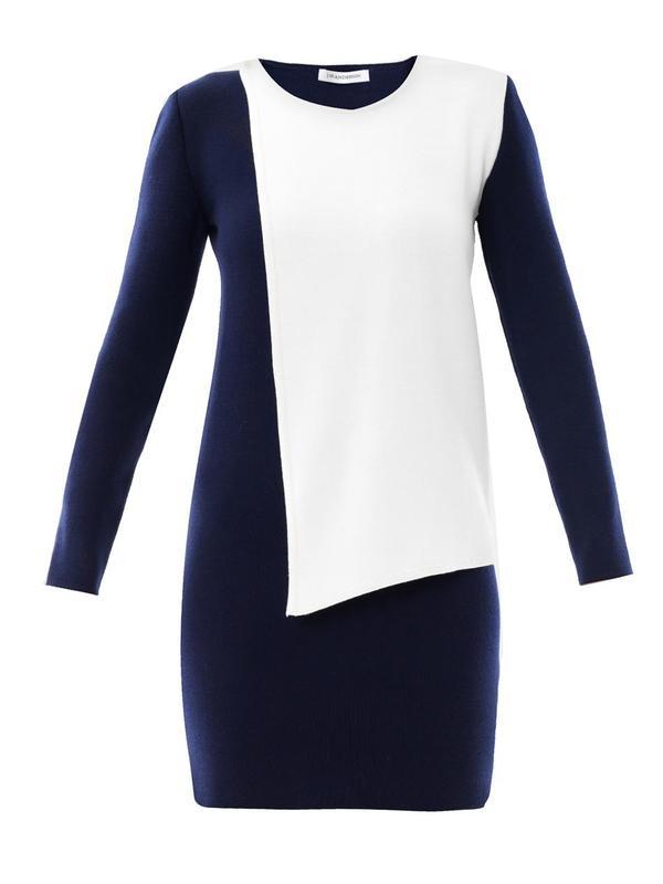 Contrast panel wool dress