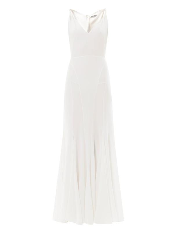 Full length twisted shoulder V-neck dress