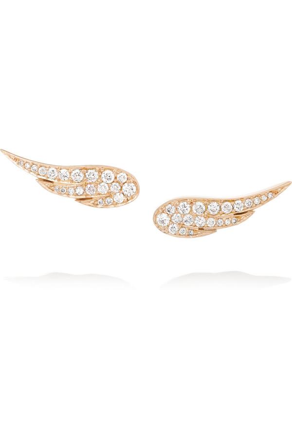 Wing 18K 玫瑰金钻石耳钉
