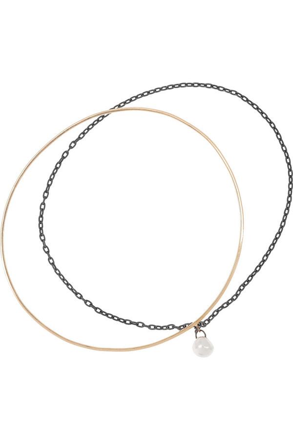 18K 玫瑰金、氧化银、珍珠互连手镯