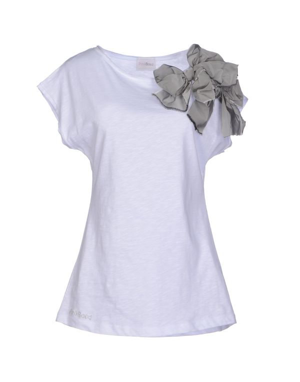 灰色 PINK BOW T-shirt