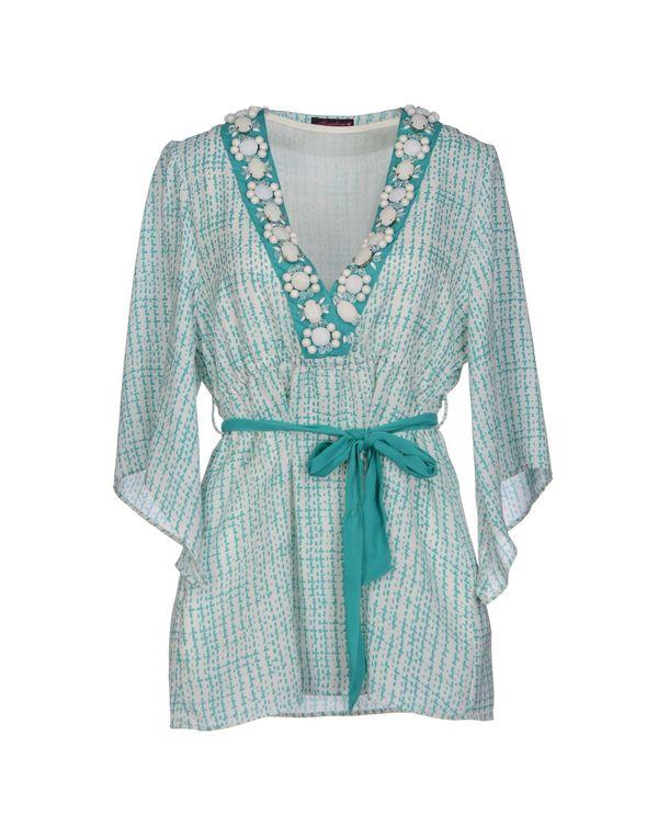 蓝绿色 ANGELINA 休闲长款衬衫