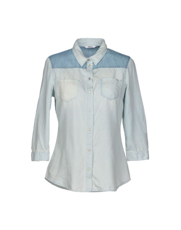 蓝色 ONLY 牛仔衬衫