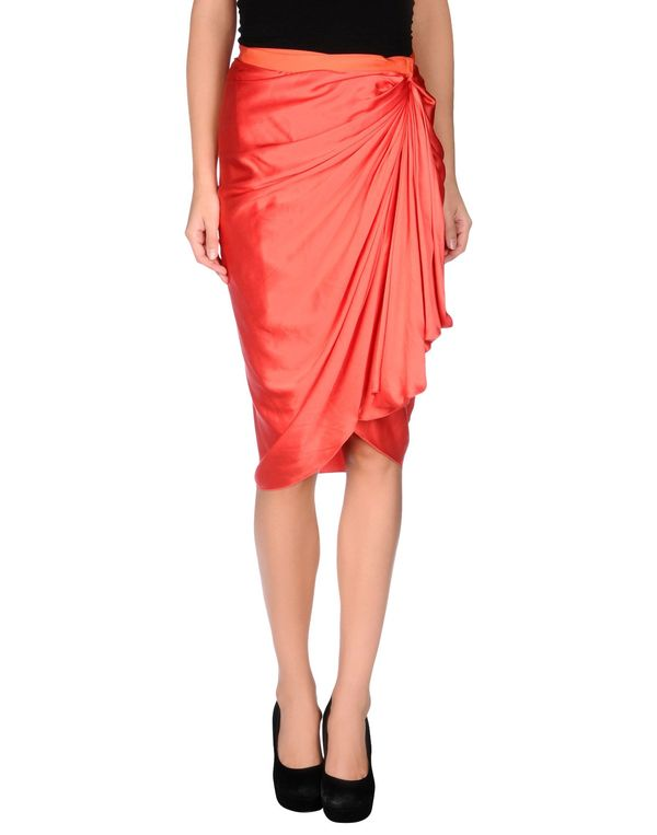 红色 LANVIN 及膝半裙