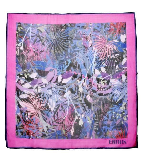ERDOS 鄂尔多斯 粉色印花真丝巾