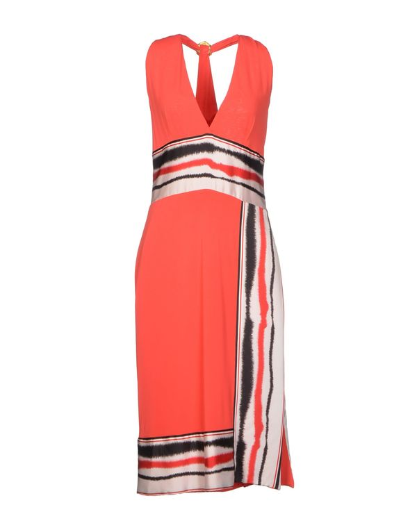 珊瑚红 CLASS ROBERTO CAVALLI 及膝连衣裙