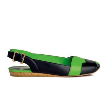 巴利(Bally)2013年春黑绿舒适平底鞋