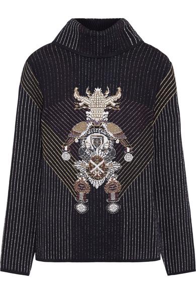 金属感弹力针织高领毛衣
