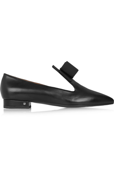 Gertrude 蝴蝶结缀饰皮革尖头平底鞋