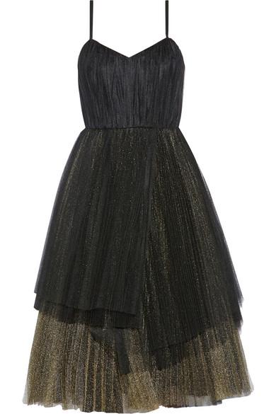 褶裥金属感绢网中长连衣裙