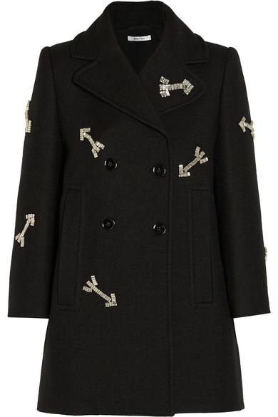 水晶缀饰梭织羊毛外套