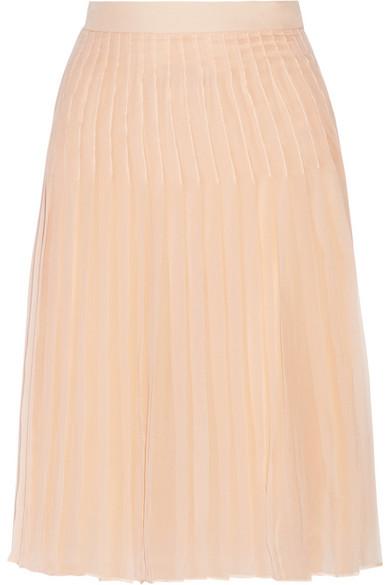 肉粉色真丝雪纺褶裥半身裙