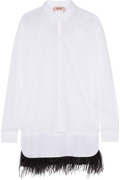 羽毛边饰纯棉府绸衬衫