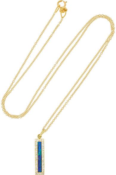 18K 黄金、蛋白石、钻石项链