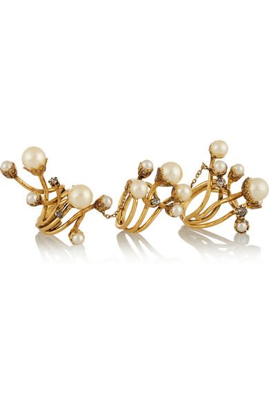 Stratosphere 施华洛世奇水晶、人造珍珠、镀金戒指