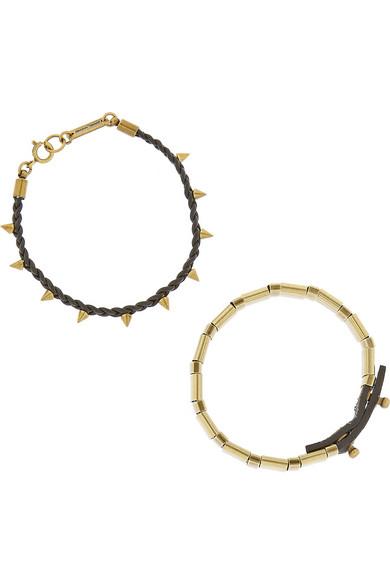 金色缀饰皮革手镯与手绳套装(两件套)