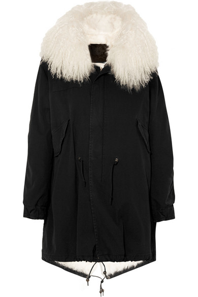 + MR & MRS FURS 羊毛皮衬里纯棉帆布派克大衣