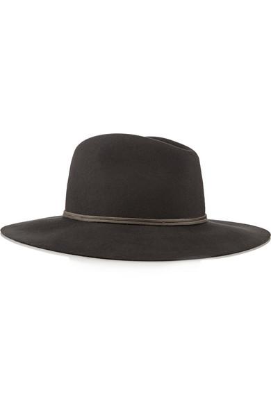 皮革边饰羊毛毡浅顶卷檐帽