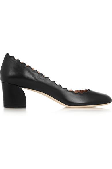 扇贝边皮革中跟鞋