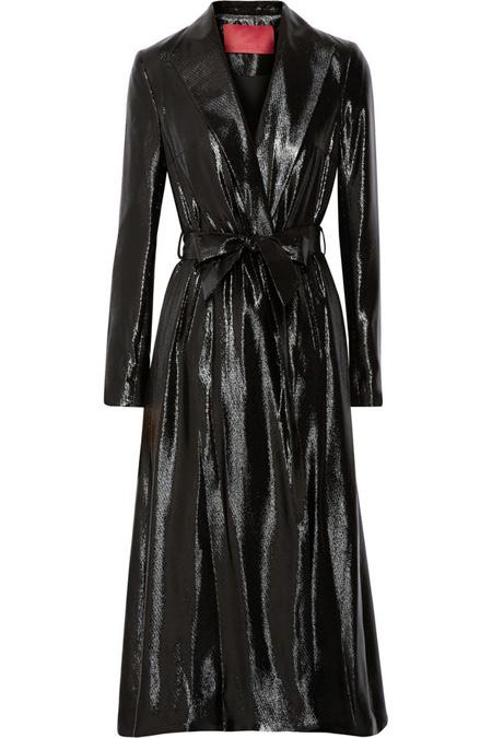 Tamara Mellon真丝混纺金属丝面料风衣