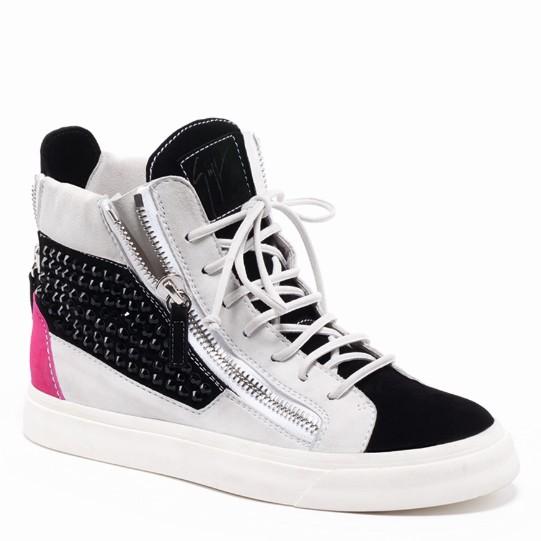 朱塞佩·萨诺第(Giuseppe Zanotti)黑白平底铆钉休闲鞋
