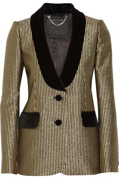 天鹅绒边饰金属线提花西装式外套
