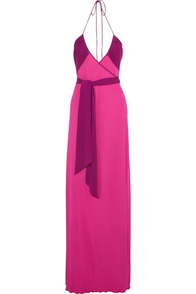 Dacey 双色针织绉纱裹身超长连衣裙