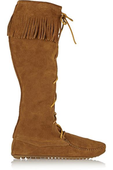 + Minnetonka 流苏绒面革及膝长靴